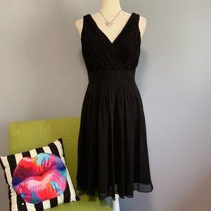Lauren Ralph Lauren Black Pleated Flared Dress B1
